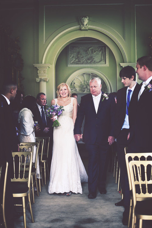 Amy & Shaun Newburgh Priory Aisle Shot